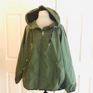 Calvin Klein Head Phone Access Raincoat Green NWOT